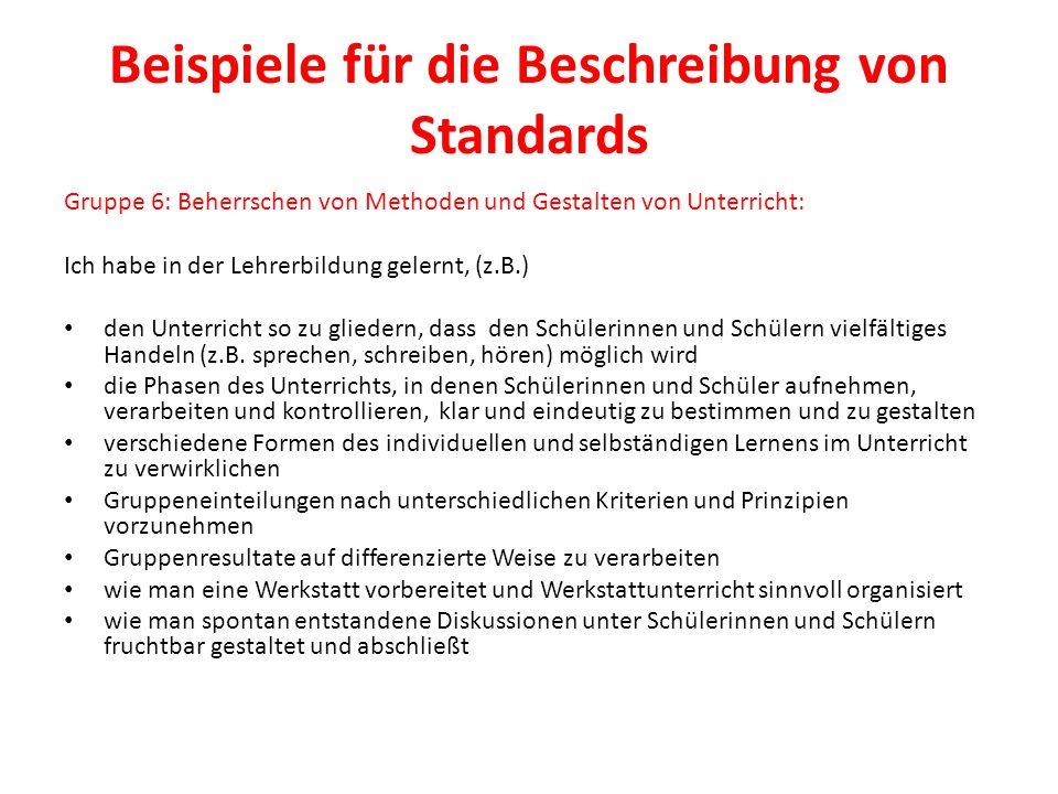 Beispiele für die Beschreibung von Standards Gruppe 6: Beherrschen von Methoden und Gestalten von Unterricht: Ich habe in der Lehrerbildung gelernt, (