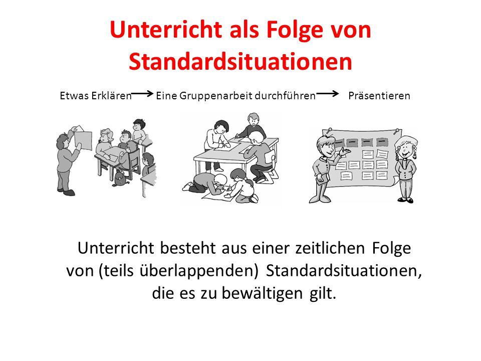 Unterricht als Folge von Standardsituationen Unterricht besteht aus einer zeitlichen Folge von (teils überlappenden) Standardsituationen, die es zu be