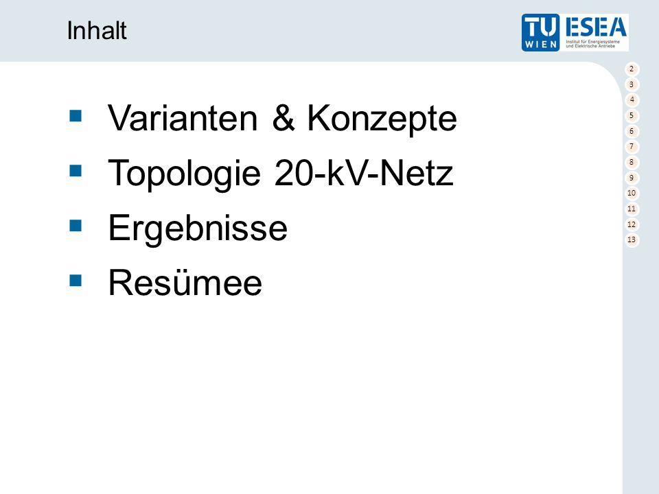 2 3 4 5 6 7 8 9 10 11 12 13  Varianten & Konzepte  Topologie 20-kV-Netz  Ergebnisse  Resümee Inhalt