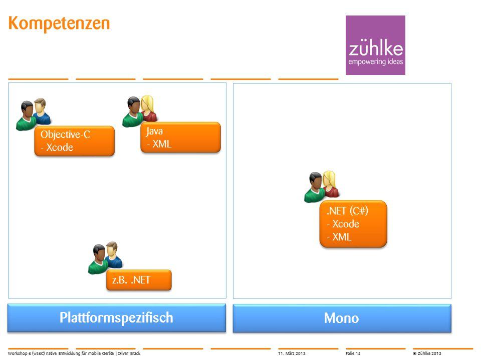 © Zühlke 2013 Kompetenzen Workshop 6 (ws6C) native Entwicklung für mobile Geräte | Oliver Brack Plattformspezifisch Mono Objective-C - Xcode Objective