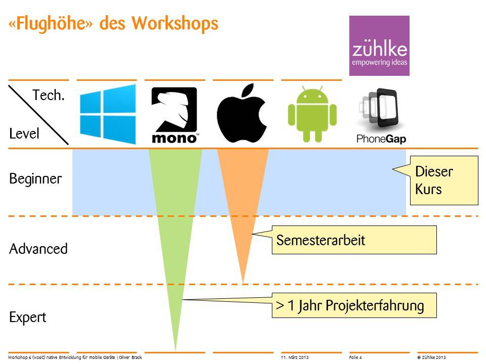 © Zühlke 2013 «Flughöhe» des Workshops Workshop 6 (ws6C) native Entwicklung für mobile Geräte | Oliver Brack Beginner Advanced Expert Dieser Kurs Semesterarbeit > 1 Jahr Projekterfahrung Level Tech.