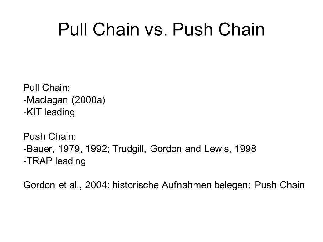 Pull Chain vs. Push Chain Pull Chain: -Maclagan (2000a) -KIT leading Push Chain: -Bauer, 1979, 1992; Trudgill, Gordon and Lewis, 1998 -TRAP leading Go