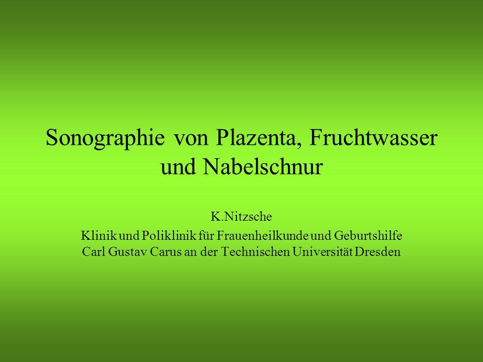 Plazenta Plazenta accreta: –Fehlen des subplazentaren Venenplexus (echoarm) Plazenta increta: –Infiltration der Plazenta in das Myometrium Plazenta percreta: –Z.B.