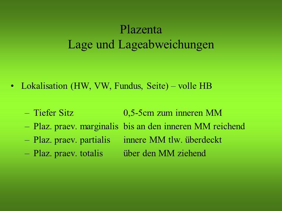 Plazenta Lage und Lageabweichungen Lokalisation (HW, VW, Fundus, Seite) – volle HB –Tiefer Sitz0,5-5cm zum inneren MM –Plaz.