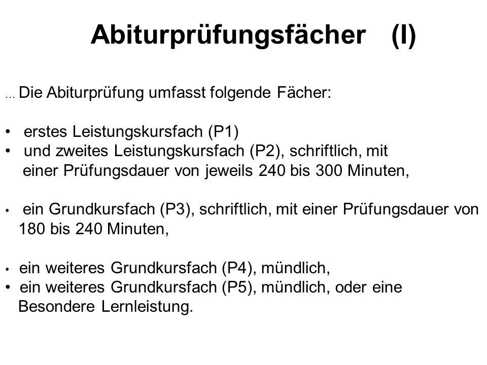 Abiturprüfungsfächer (I)...