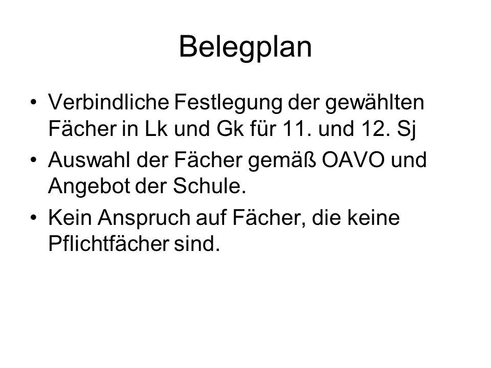 Belegplan Verbindliche Festlegung der gewählten Fächer in Lk und Gk für 11.