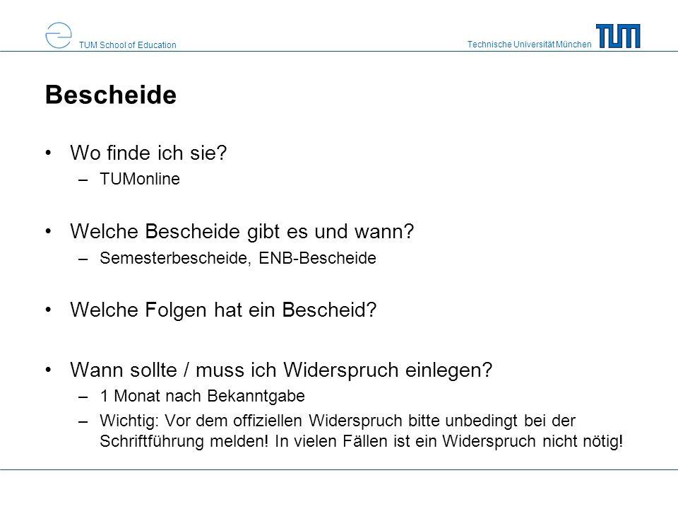 Technische Universität München TUM School of Education Bescheide Wo finde ich sie.