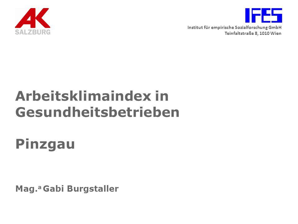Institut für empirische Sozialforschung GmbH Teinfaltstraße 8, 1010 Wien Arbeitsklimaindex in Gesundheitsbetrieben Pinzgau Mag.