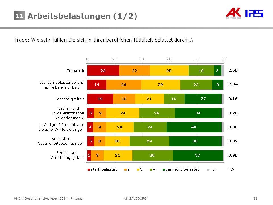 11 AKI in Gesundheitsbetrieben 2014 - Pinzgau AK SALZBURG 11 Frage: Wie sehr fühlen Sie sich in Ihrer beruflichen Tätigkeit belastet durch….