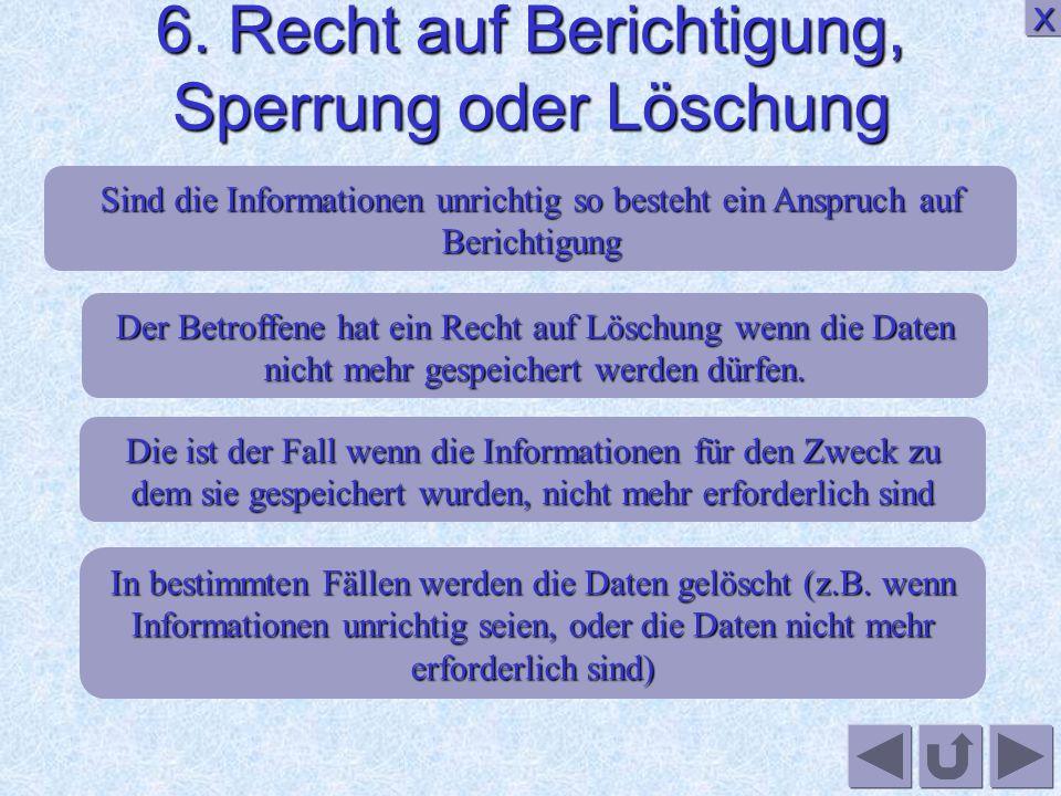 5. Rechte vom Bürger XXXX Es gibt das Recht auf Benachrichtigung über die Datenerhebung Recht auf Auskunft Der betroffene ist zu Informieren welche St