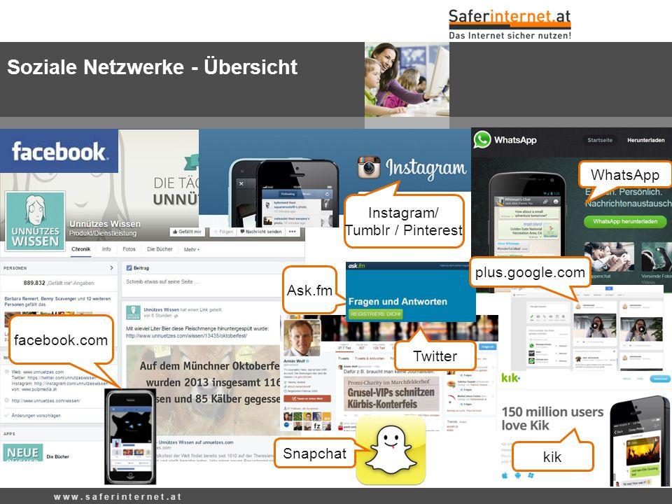 Soziale Netzwerke - Übersicht w w w. s a f e r i n t e r n e t.