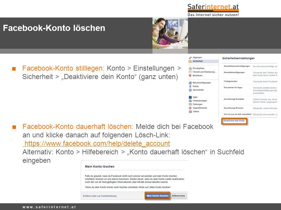 """Facebook-Konto stilllegen: Konto > Einstellungen > Sicherheit > """"Deaktiviere dein Konto (ganz unten) w w w."""