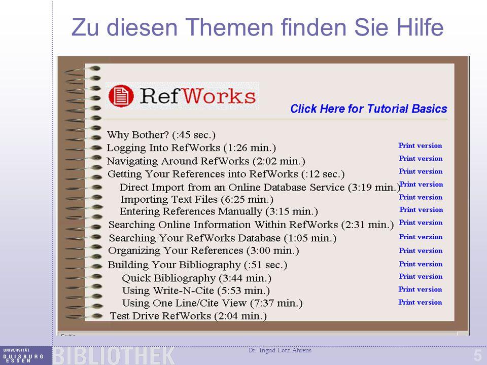 Dr. Ingrid Lotz-Ahrens 5 Zu diesen Themen finden Sie Hilfe