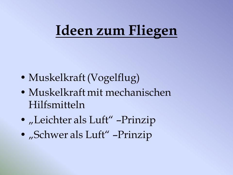 """Ideen zum Fliegen Muskelkraft (Vogelflug) Muskelkraft mit mechanischen Hilfsmitteln """"Leichter als Luft"""" –Prinzip """"Schwer als Luft"""" –Prinzip"""