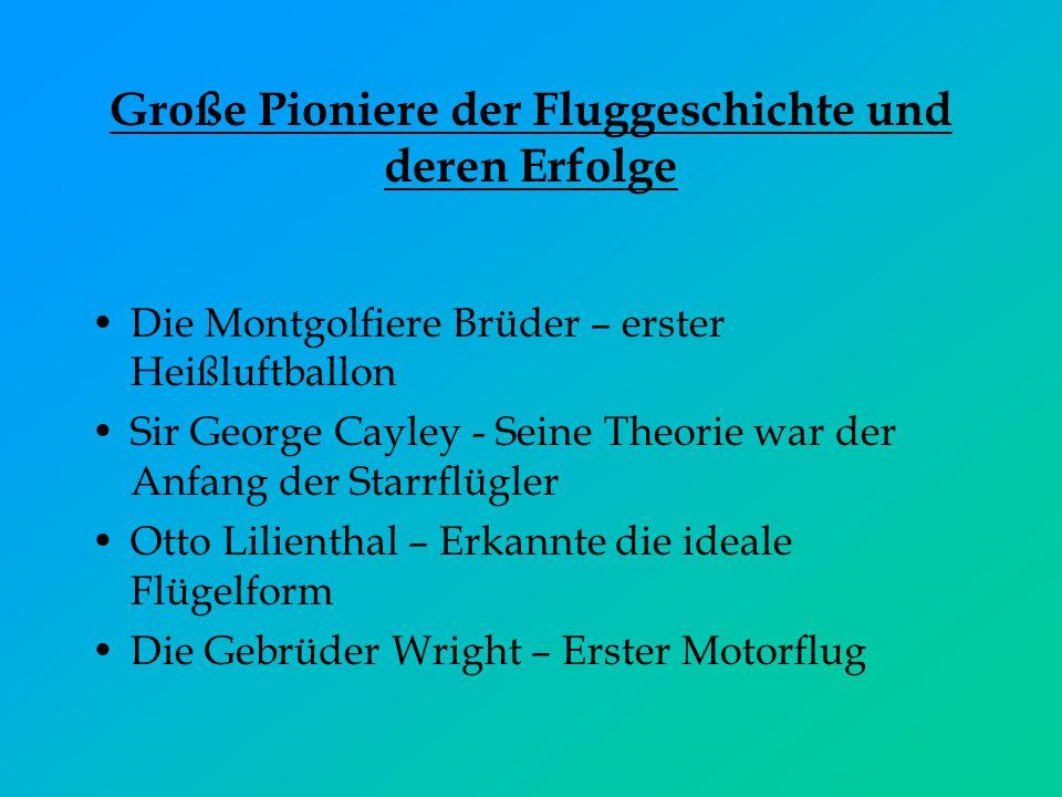 Große Pioniere der Fluggeschichte und deren Erfolge Die Montgolfiere Brüder – erster Heißluftballon Sir George Cayley - Seine Theorie war der Anfang d