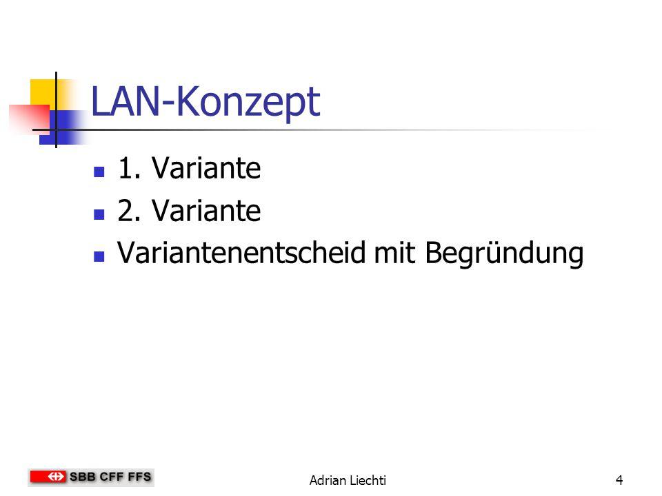Adrian Liechti4 LAN-Konzept 1. Variante 2. Variante Variantenentscheid mit Begründung