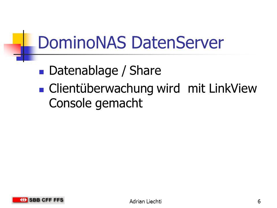Adrian Liechti7 Tests mit DominoNAS Test 1 (IP-Verwaltungsnetzwerk) Bandbreitenmessung Netzwerkverkehr im IP- Verwaltungsnetzwerk Test 2 (DHCP-Request von Client aufzeigen) DHCP.cap