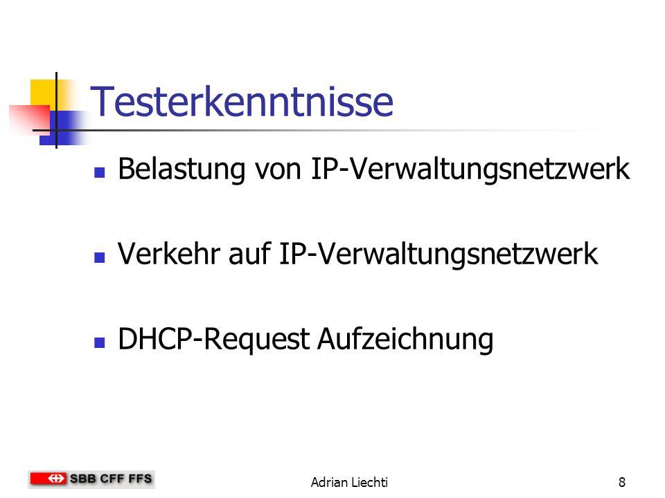 Adrian Liechti8 Testerkenntnisse Belastung von IP-Verwaltungsnetzwerk Verkehr auf IP-Verwaltungsnetzwerk DHCP-Request Aufzeichnung