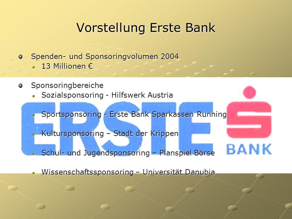 Vorstellung Erste Bank Spenden- und Sponsoringvolumen 2004 Spenden- und Sponsoringvolumen 2004 13 Millionen € 13 Millionen € Sponsoringbereiche Sponso