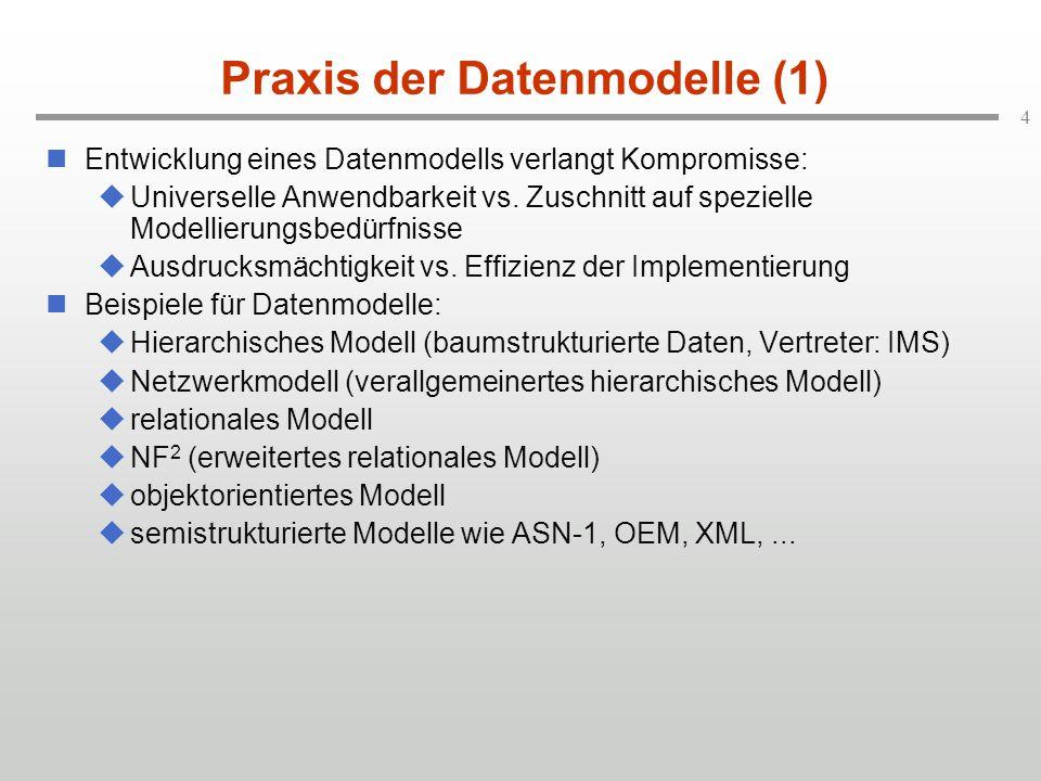5 Praxis der Datenmodelle (2) Heute eingesetzte Datenmodelle:  Hierarchisches und Netzwerk-Datenmodell (Altanwendungen)  Relationales Datenmodell (Löwenanteil neuerer Applikationen)  Objektorientiertes Datenmodell (für anspruchsvollere Modellierungsbedürfnisse)  XML (für Datenaustausch)