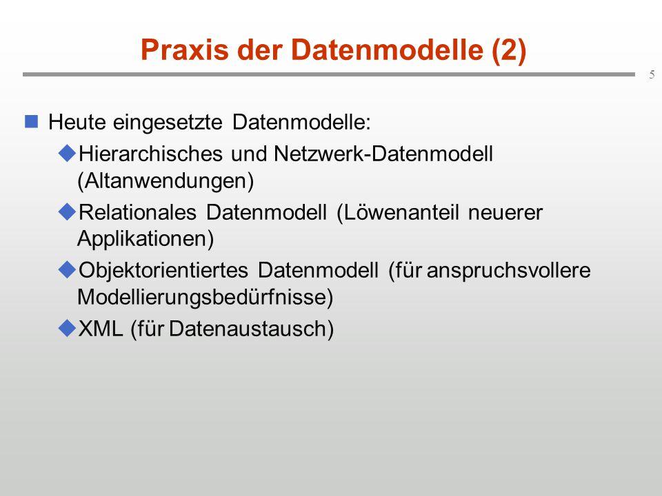5 Praxis der Datenmodelle (2) Heute eingesetzte Datenmodelle:  Hierarchisches und Netzwerk-Datenmodell (Altanwendungen)  Relationales Datenmodell (L