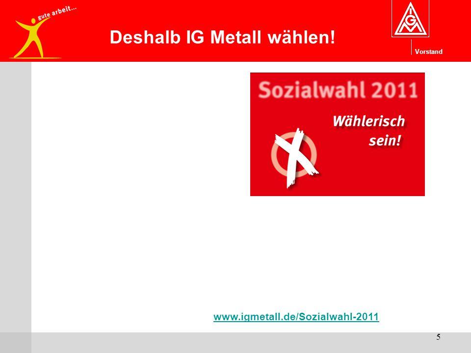Vorstand 5 www.igmetall.de/Sozialwahl-2011 Deshalb IG Metall wählen!