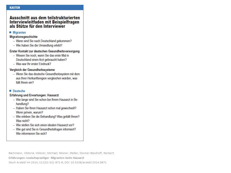 Bachmann, Viktoria; Völkner, Michael; Bösner, Stefan; Donner-Banzhoff, Norbert Erfahrungen russischsprachiger Migranten beim Hausarzt Dtsch Arztebl Int 2014; 111(51-52): 871-6; DOI: 10.3238/arztebl.2014.0871
