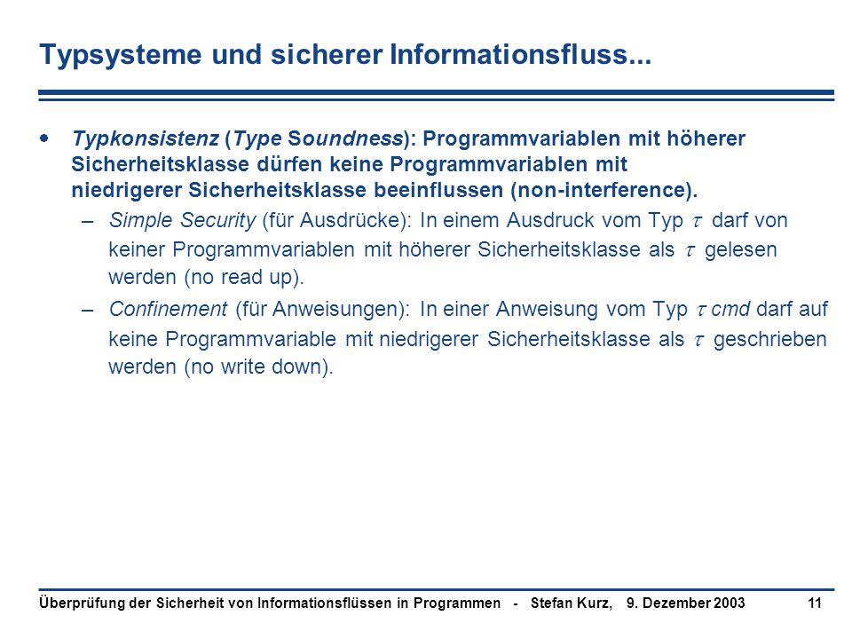 9. Dezember 2003Überprüfung der Sicherheit von Informationsflüssen in Programmen - Stefan Kurz,11 Typsysteme und sicherer Informationsfluss...  Typko