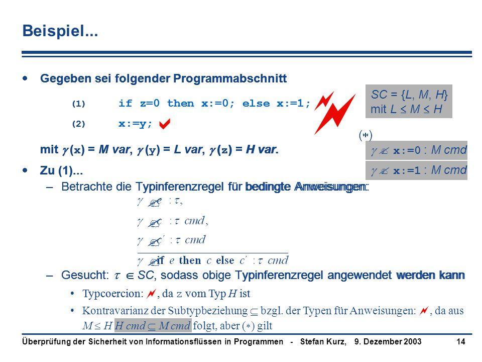 9. Dezember 2003Überprüfung der Sicherheit von Informationsflüssen in Programmen - Stefan Kurz,14 Beispiel...  Gegeben sei folgender Programmabschnit