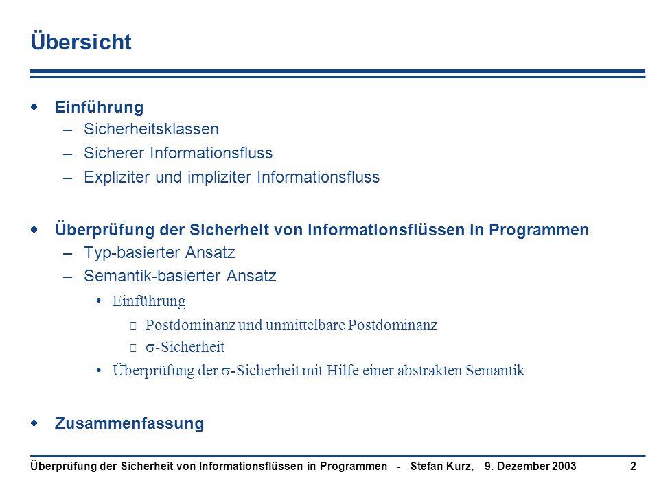 9. Dezember 2003Überprüfung der Sicherheit von Informationsflüssen in Programmen - Stefan Kurz,2 Übersicht  Einführung –Sicherheitsklassen –Sicherer