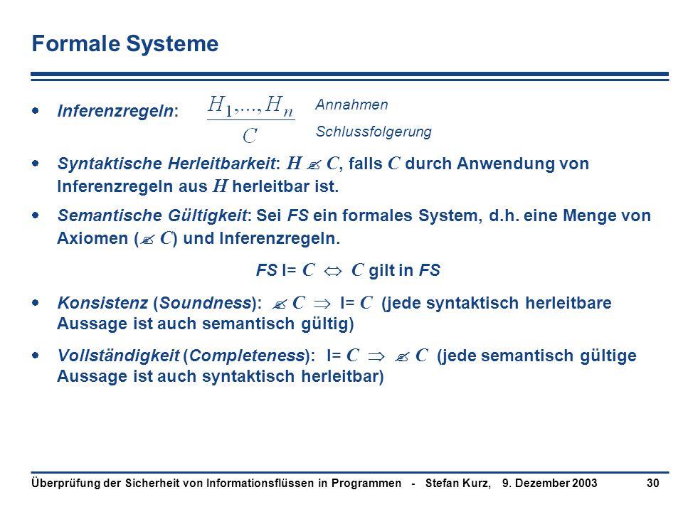 9. Dezember 2003Überprüfung der Sicherheit von Informationsflüssen in Programmen - Stefan Kurz,30 Formale Systeme  Inferenzregeln:  Syntaktische Her