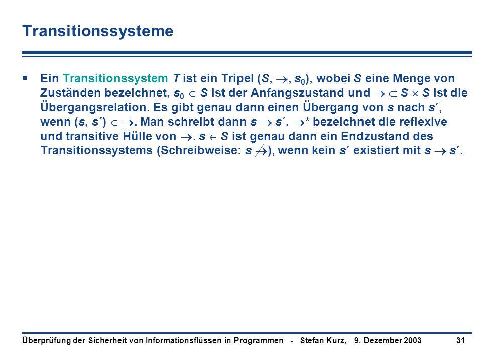 9. Dezember 2003Überprüfung der Sicherheit von Informationsflüssen in Programmen - Stefan Kurz,31 Transitionssysteme  Ein Transitionssystem T ist ein