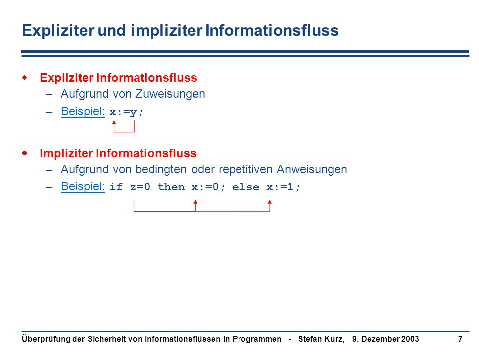 9. Dezember 2003Überprüfung der Sicherheit von Informationsflüssen in Programmen - Stefan Kurz,7 Expliziter und impliziter Informationsfluss  Explizi
