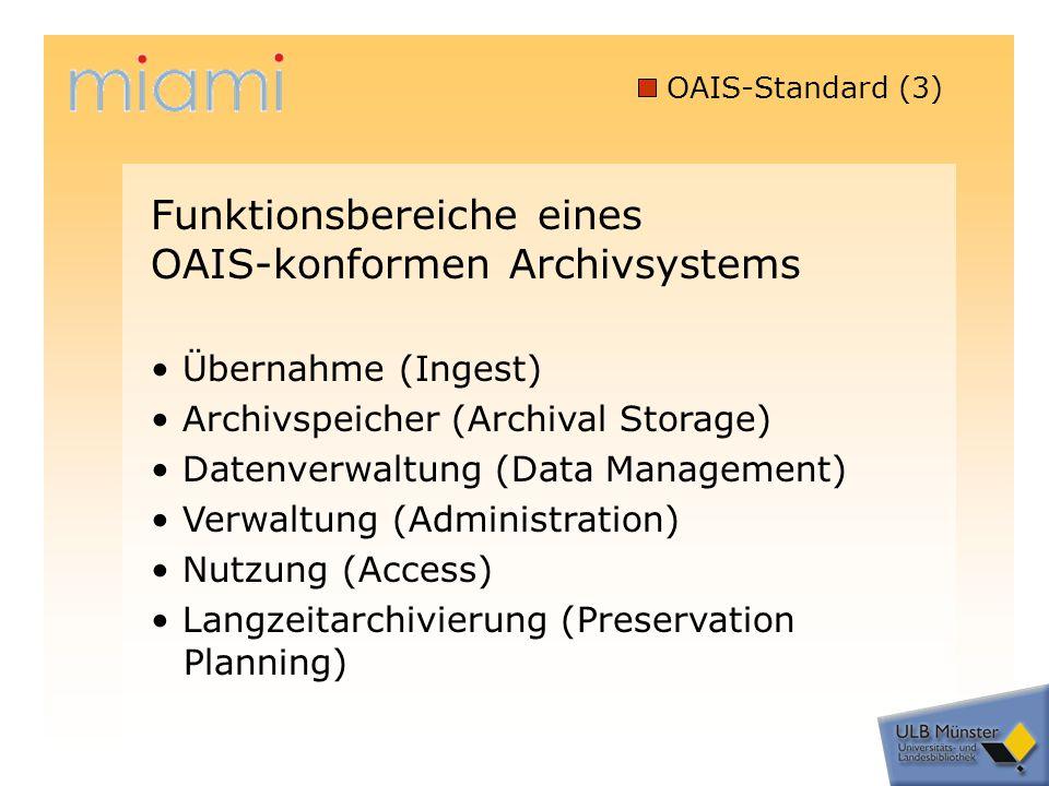 OAIS-Standard (3) Übernahme (Ingest) Archivspeicher (Archival Storage) Datenverwaltung (Data Management) Verwaltung (Administration) Nutzung (Access) Langzeitarchivierung (Preservation Planning) Funktionsbereiche eines OAIS-konformen Archivsystems