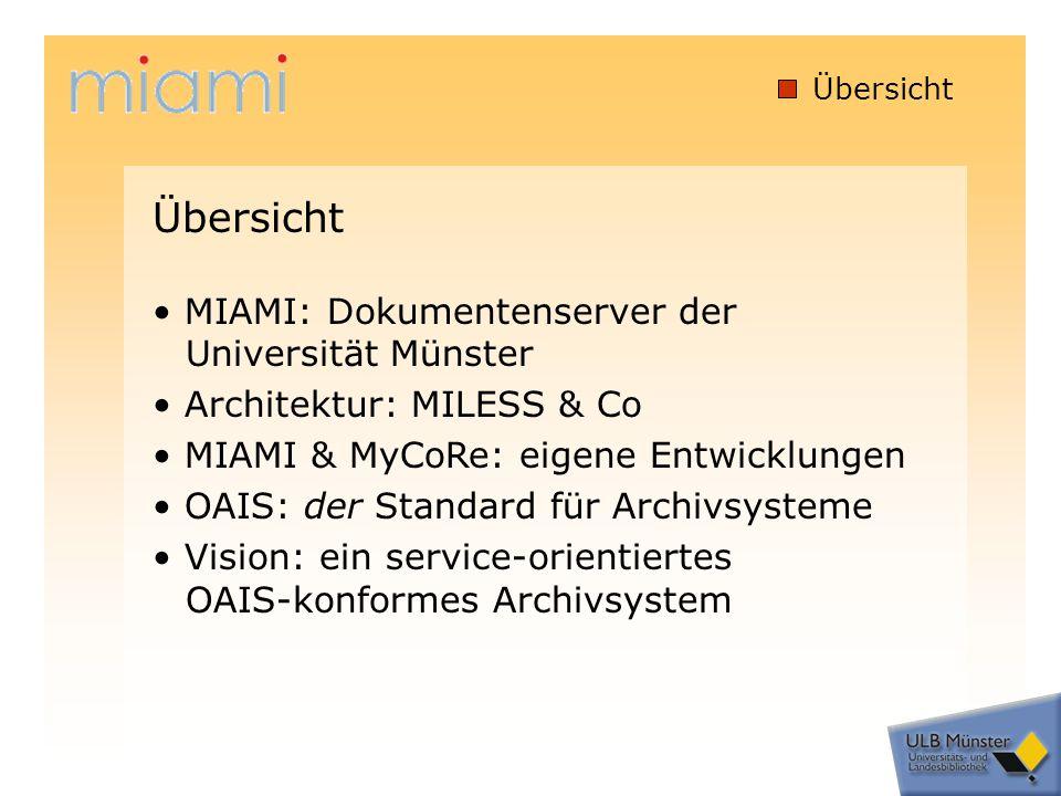 MIAMI (1) MIAMI: Dokumentenserver der Universität Münster MIAMI = Münstersches Informations- und Archivsystem für Multimediale Inhalte in Betrieb seit November 2002 kooperative Dienstleistung der Universitäts- und Landesbibliothek (ULB) Münster und des Zentrums für Informationsverarbeitung (ZIV) http://miami.uni-muenster.de