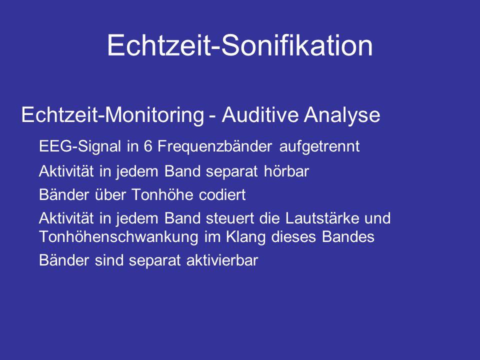 Echtzeit-Sonifikation Echtzeit-Monitoring - Auditive Analyse EEG-Signal in 6 Frequenzbänder aufgetrennt Aktivität in jedem Band separat hörbar Bänder über Tonhöhe codiert Aktivität in jedem Band steuert die Lautstärke und Tonhöhenschwankung im Klang dieses Bandes Bänder sind separat aktivierbar