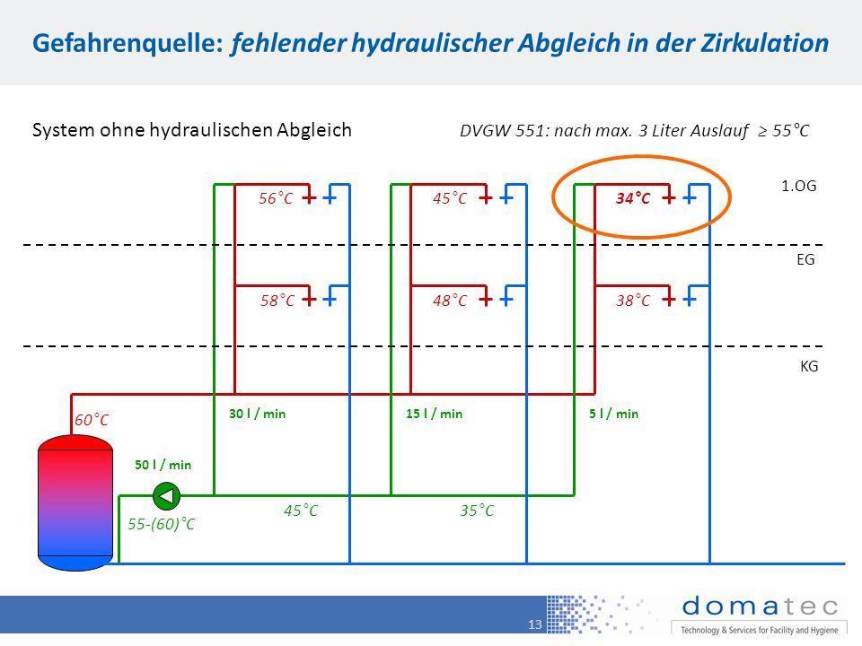 13 Gefahrenquelle: fehlender hydraulischer Abgleich in der Zirkulation 1.OG EG KG System ohne hydraulischen Abgleich DVGW 551: nach max. 3 Liter Ausla