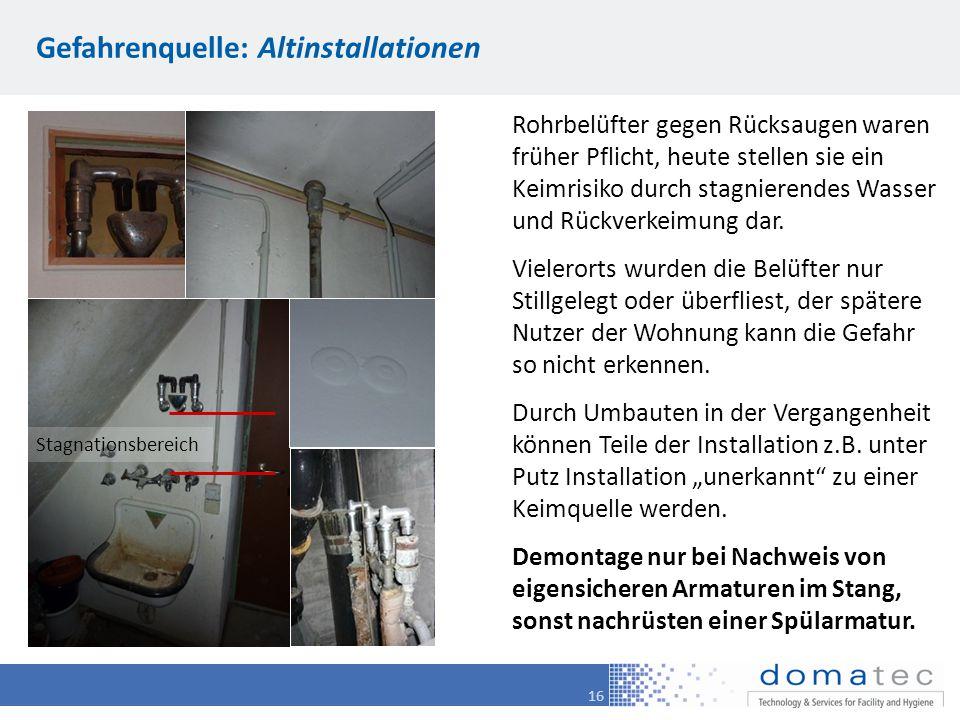 16 Gefahrenquelle: Altinstallationen Rohrbelüfter gegen Rücksaugen waren früher Pflicht, heute stellen sie ein Keimrisiko durch stagnierendes Wasser und Rückverkeimung dar.