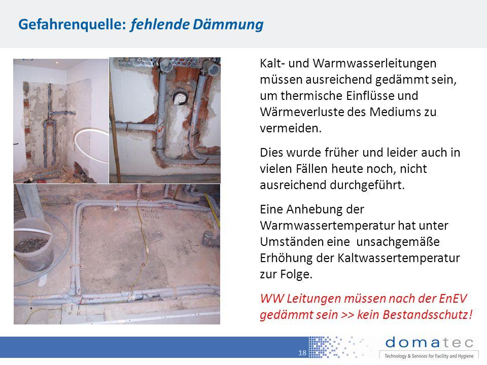 18 Gefahrenquelle: fehlende Dämmung Kalt- und Warmwasserleitungen müssen ausreichend gedämmt sein, um thermische Einflüsse und Wärmeverluste des Mediu