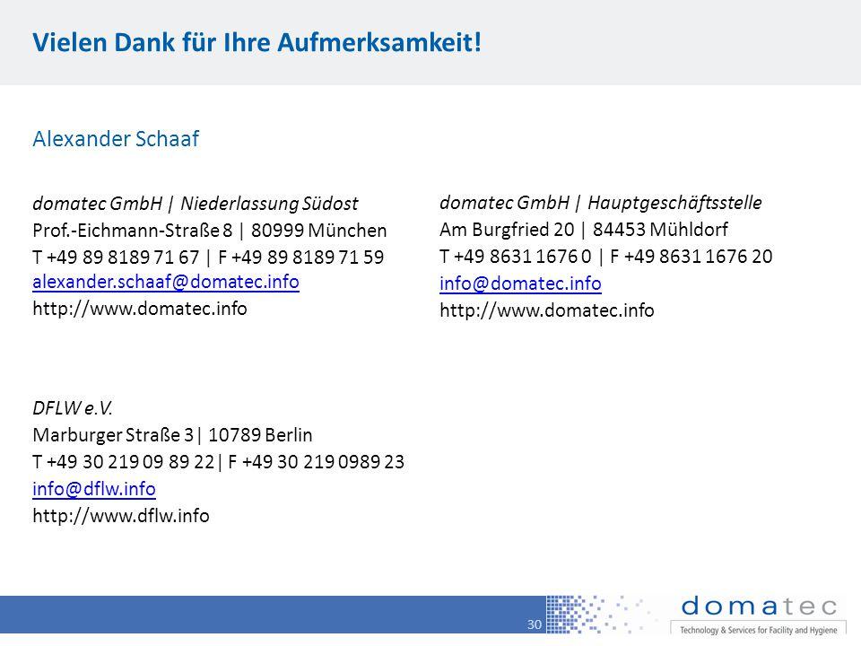30 Vielen Dank für Ihre Aufmerksamkeit! domatec GmbH | Hauptgeschäftsstelle Am Burgfried 20 | 84453 Mühldorf T +49 8631 1676 0 | F +49 8631 1676 20 in