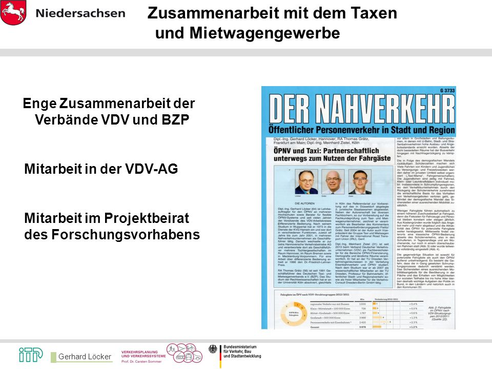 Gerhard Löcker Zusammenarbeit mit dem Taxen und Mietwagengewerbe Enge Zusammenarbeit der Verbände VDV und BZP Mitarbeit in der VDV-AG Mitarbeit im Pro
