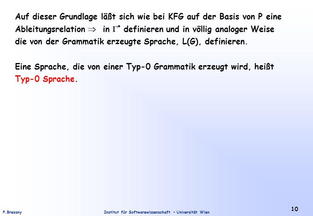 Institut für Softwarewissenschaft – Universität WienP.Brezany 10 Auf dieser Grundlage läßt sich wie bei KFG auf der Basis von P eine Ableitungsrelatio