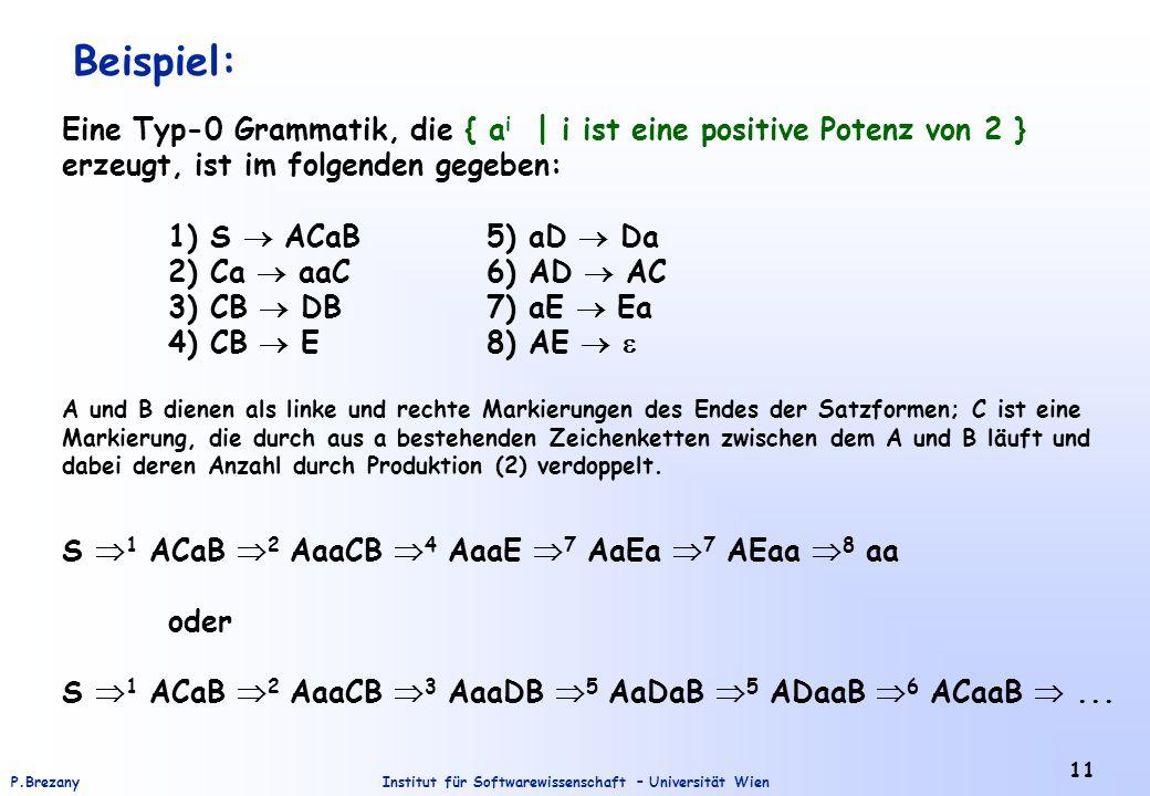 Institut für Softwarewissenschaft – Universität WienP.Brezany 11 Beispiel: Eine Typ-0 Grammatik, die { a i | i ist eine positive Potenz von 2 } erzeug