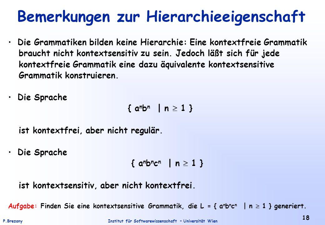 Institut für Softwarewissenschaft – Universität WienP.Brezany 18 Bemerkungen zur Hierarchieeigenschaft Die Grammatiken bilden keine Hierarchie: Eine k