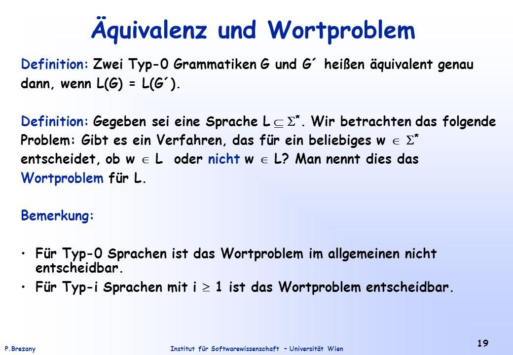 Institut für Softwarewissenschaft – Universität WienP.Brezany 19 Äquivalenz und Wortproblem Definition: Zwei Typ-0 Grammatiken G und G´ heißen äquival