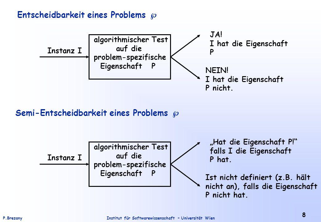 Institut für Softwarewissenschaft – Universität WienP.Brezany 8 Entscheidbarkeit eines Problems  Semi-Entscheidbarkeit eines Problems  Instanz I alg