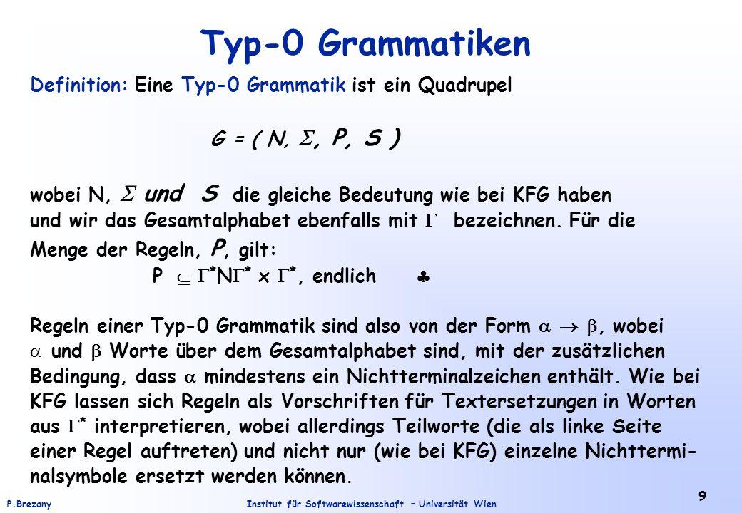 Institut für Softwarewissenschaft – Universität WienP.Brezany 9 Typ-0 Grammatiken Definition: Eine Typ-0 Grammatik ist ein Quadrupel G = ( N, , P, S