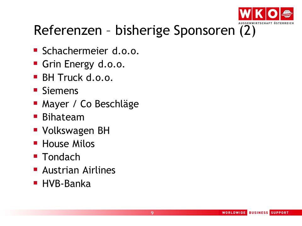 9 Referenzen – bisherige Sponsoren (2)  Schachermeier d.o.o.