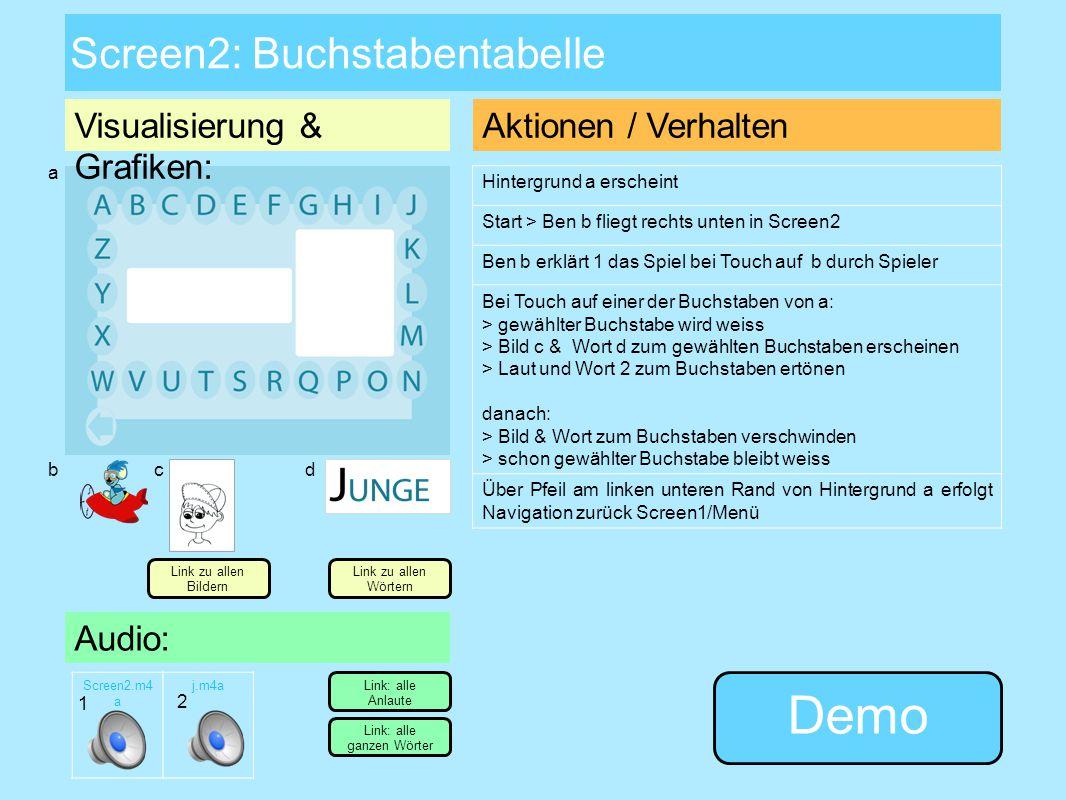 Screen1: Startbildschirm/Menü Visualisierung & Grafiken: Audio: Screen1.m4 a Aktionen / Verhalten App-Start > Hintergrund a erscheint Ben Bärenstark s