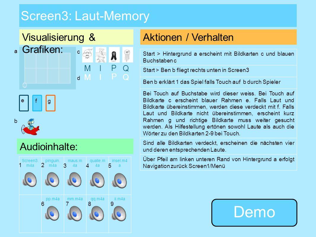 Screen2: Buchstabentabelle Link zu allen Bildern Link zu allen Wörtern Visualisierung & Grafiken: Aktionen / Verhalten Hintergrund a erscheint Start >